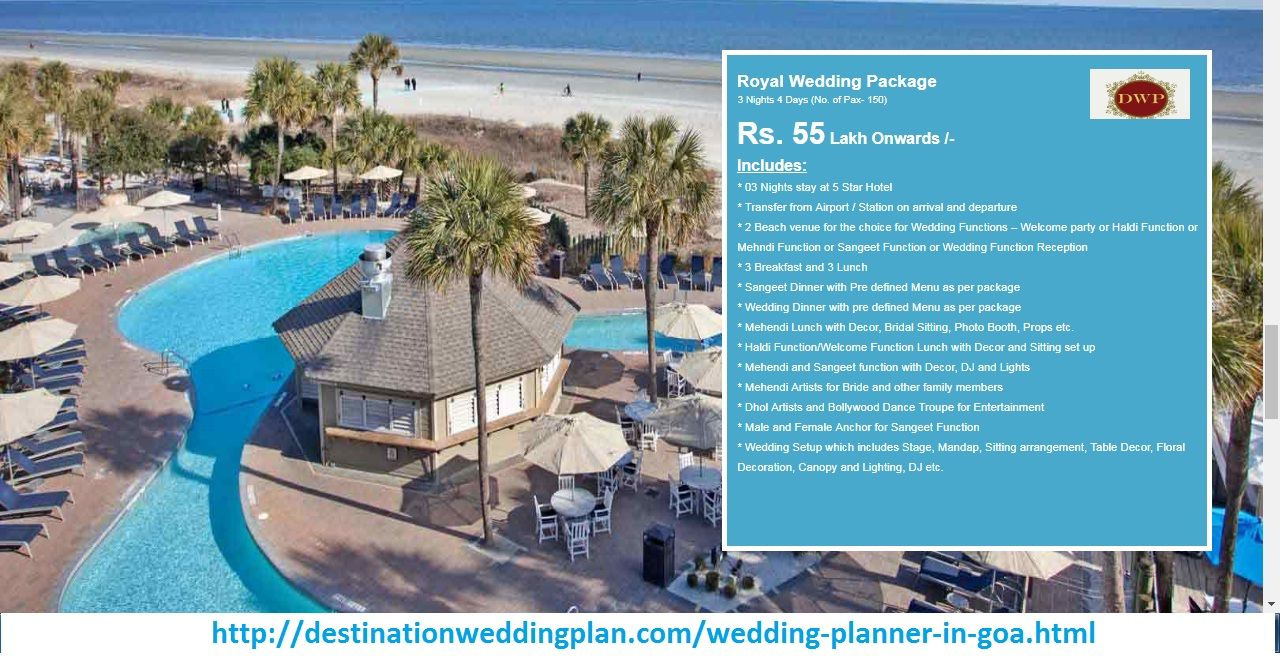 Destination wedding cost in Goa differs with choice of
