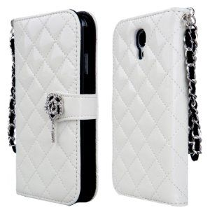 Amazon.com: TORU iHand Diamond Quilted Fashion Wallet Case for Samsung Galaxy S4 SIV S IV i9500 - White: Cell Phones & Accessories