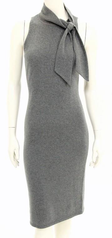 c171a4106cd400 Ralph Lauren Black Label Grey Cashmere Sleeveless Tie Neck Dress Size Medium   RalphLaurenBlackLabel  SweaterDress