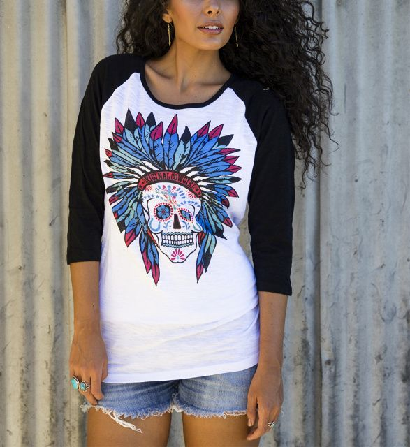 Sweet Sugar Skull Burnout Baseball  Black/White AT COWGIRL BLONDIE'S WESTERN BOUTIQUE