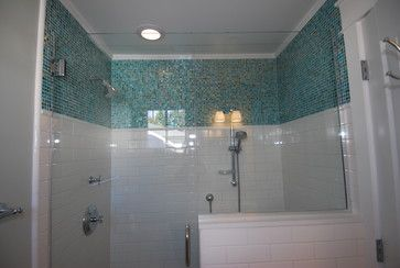 Dress Up A Boring White Tile Bathroom With Colored Accent Tile To