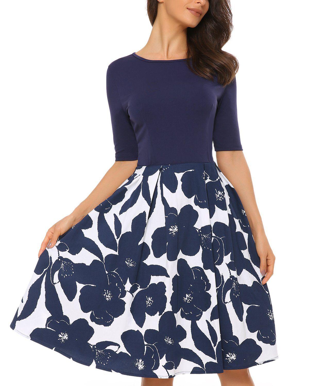 4048c7cc13d3 Mixfeer Women's Vintage Midi Dress Floral Scoop Neck Short Sleeve Casual  Work Cocktail