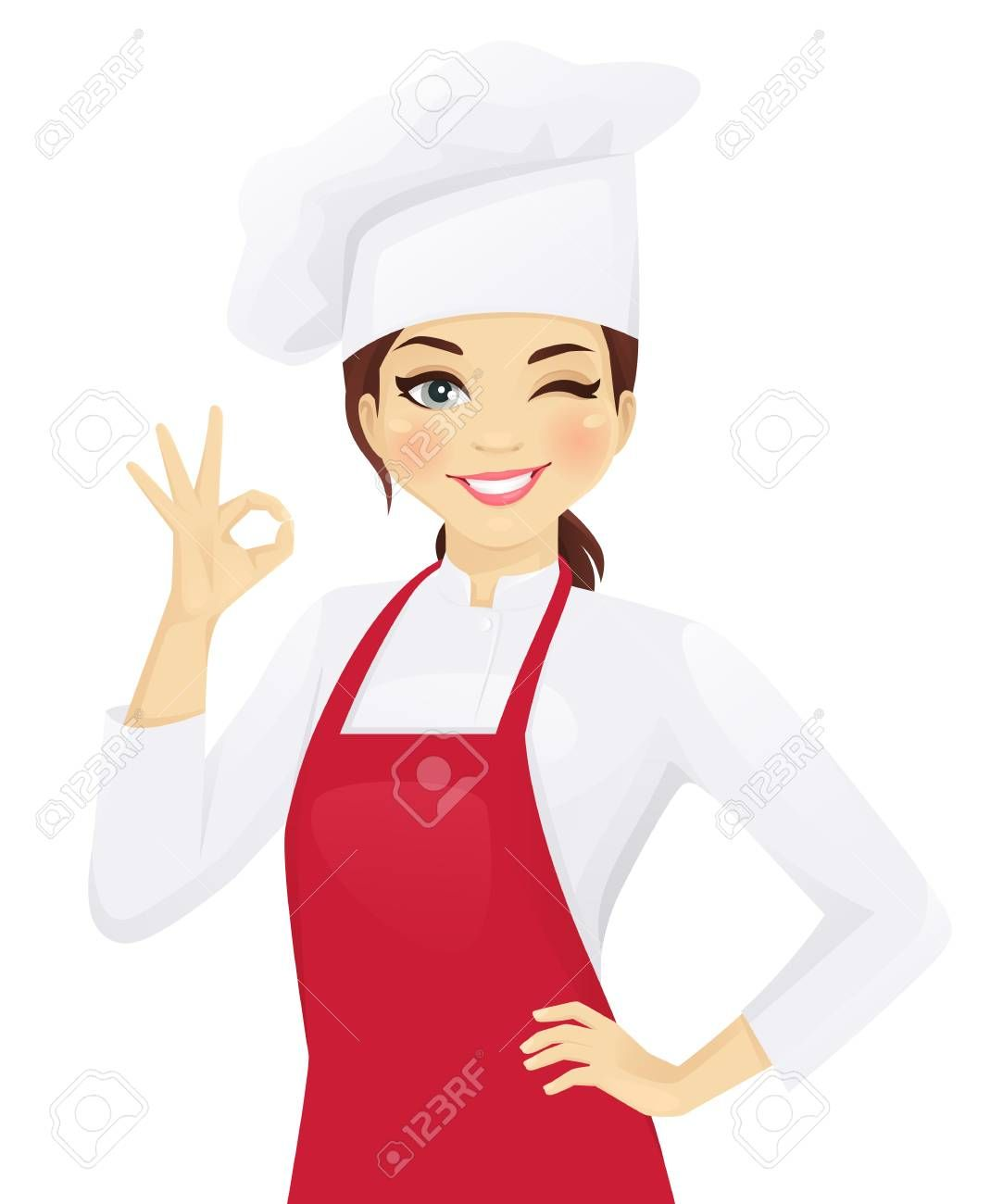 Confident Chef Woman Gesturing Ok Sign Vector Illustration Ad Woman Chef Confident Gesturing Ill Font Design Logo Illustration Vector Illustration