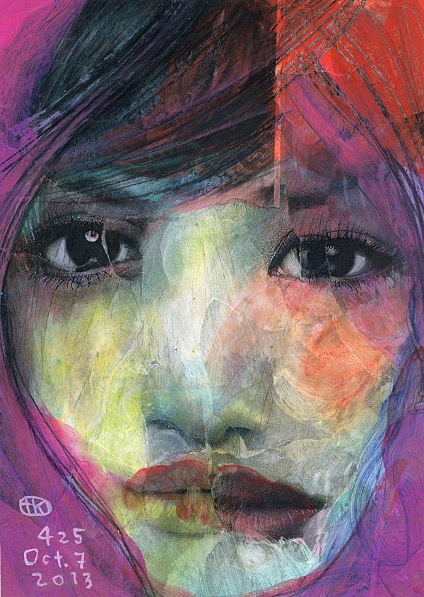 """""""Broken Faces"""" mixed-media work by Takahiro Kimura"""