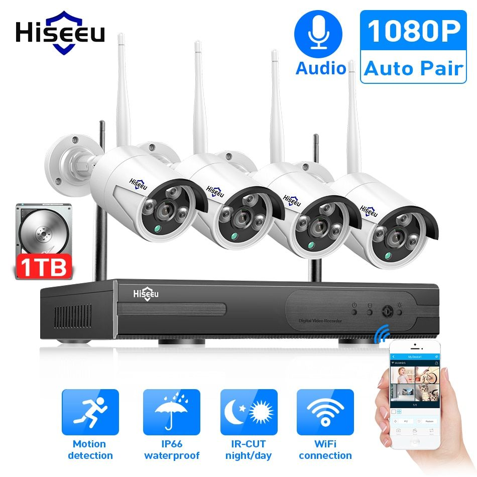 1TB 8CH HD NVR Outdoor Waterproof IR-CUT Wifi Camera Home Security Vodeo System