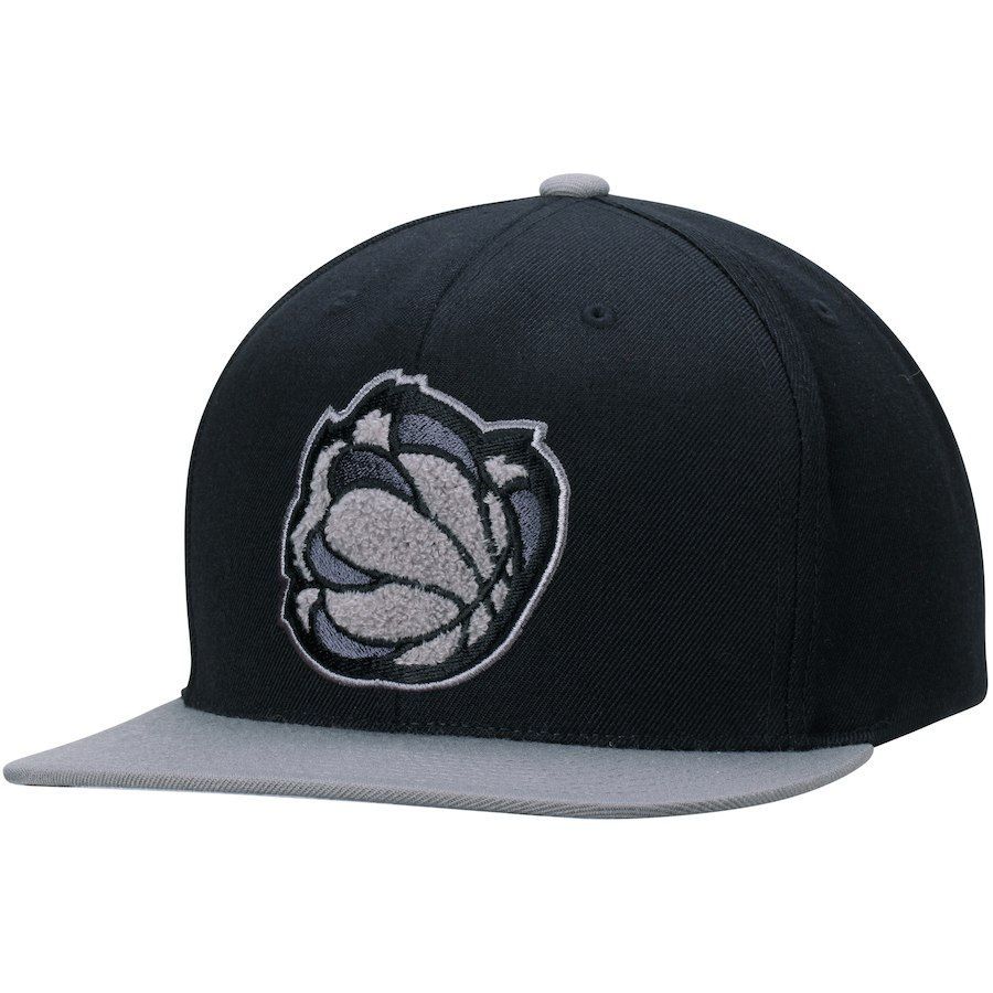 e0be4d24e4ba7 Men s Memphis Grizzlies Mitchell   Ness Black Gray Chrome Chenille Snapback  Adjustable Hat