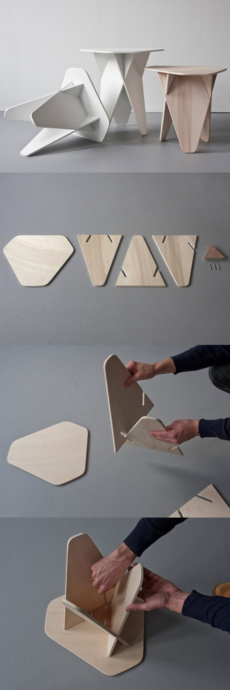 Andreas Kowalewski's Wedge Side Table is a Genius SingleMaterial Flatpack Design is part of Wood diy - The Wedge Side Table is a clever flatpack design that is simple to build, store and transport  The interlocking segments create the table's characteristic aesthetics