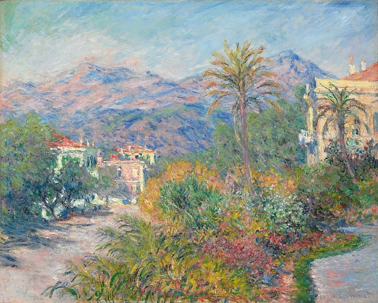 Glasbild Villas at Bordighera Claude Monet Poster Leinwandbild