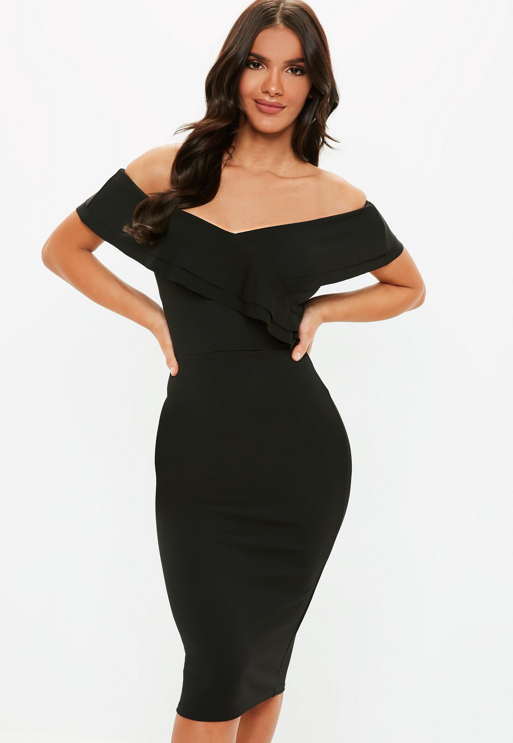 26+ Bardot bodycon midi dress black ideas