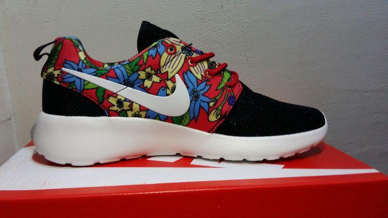 best website 938f3 54676  esty Custom Floral Black Sail Nike Roshe Run Flower arrangement Red Green  Men and Women
