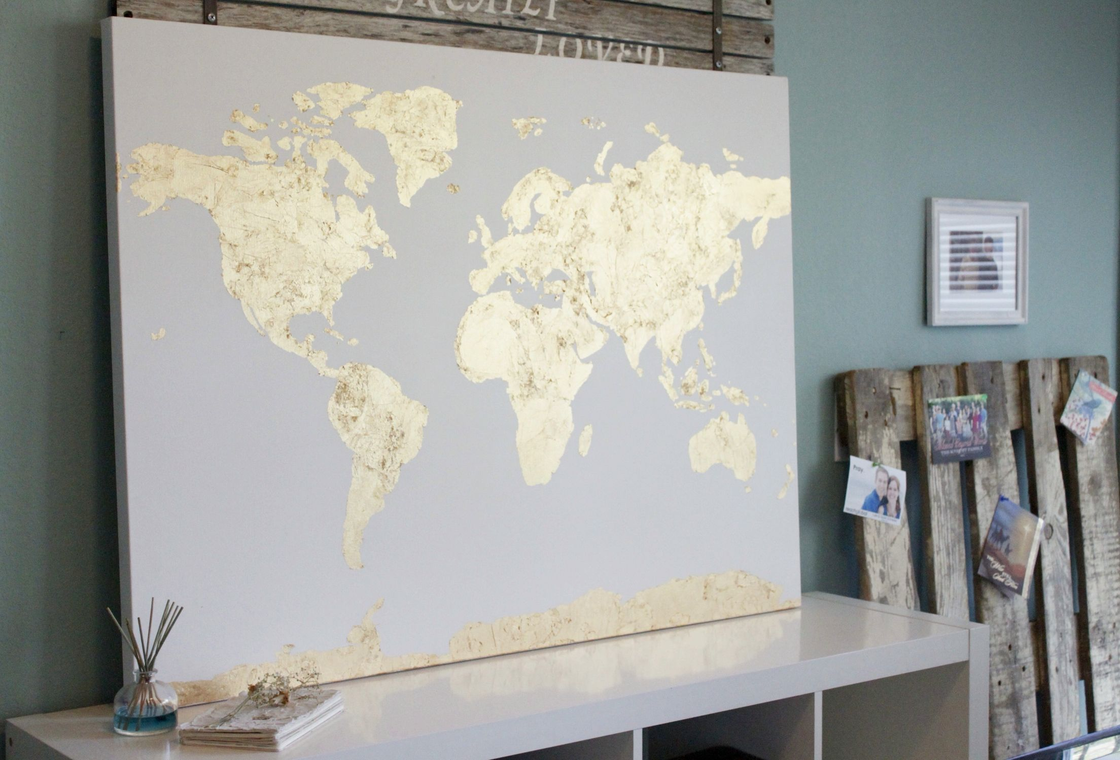 Large gold leaf foil world map canvas now in the shop philly large gold leaf foil world map canvas now in the shop gumiabroncs Choice Image