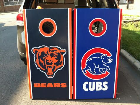 Chicago Bears And Cubs Custom Cornhole Boards W Drink