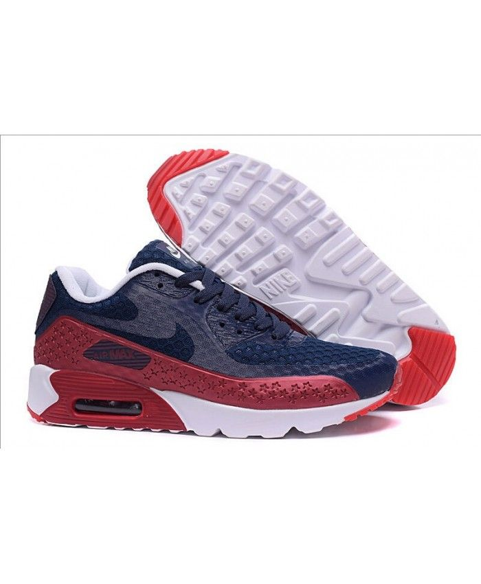 07b664fa610f Nik Eair Max 90 Hyperfuse Independence Day Deep Blue Red Mesh Online Running  Shoes Nike