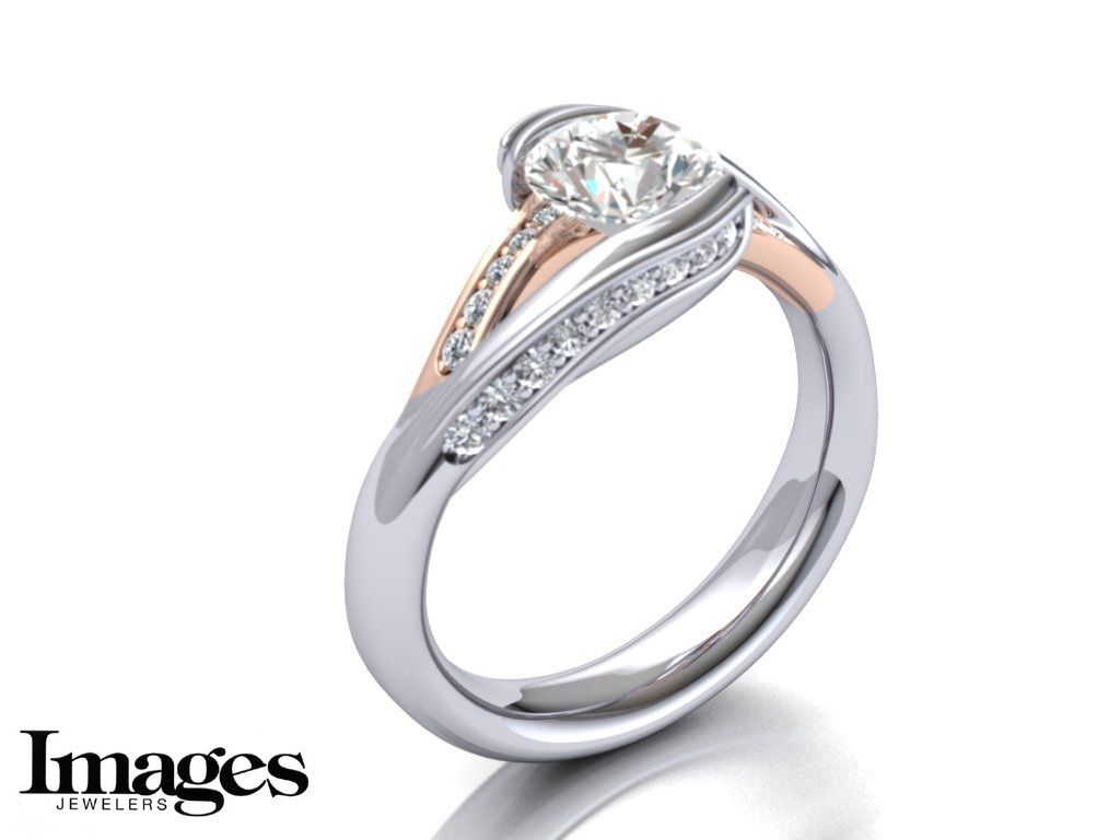 Custom Rose and White Gold Diamond Engagement Ring Design- Images ...