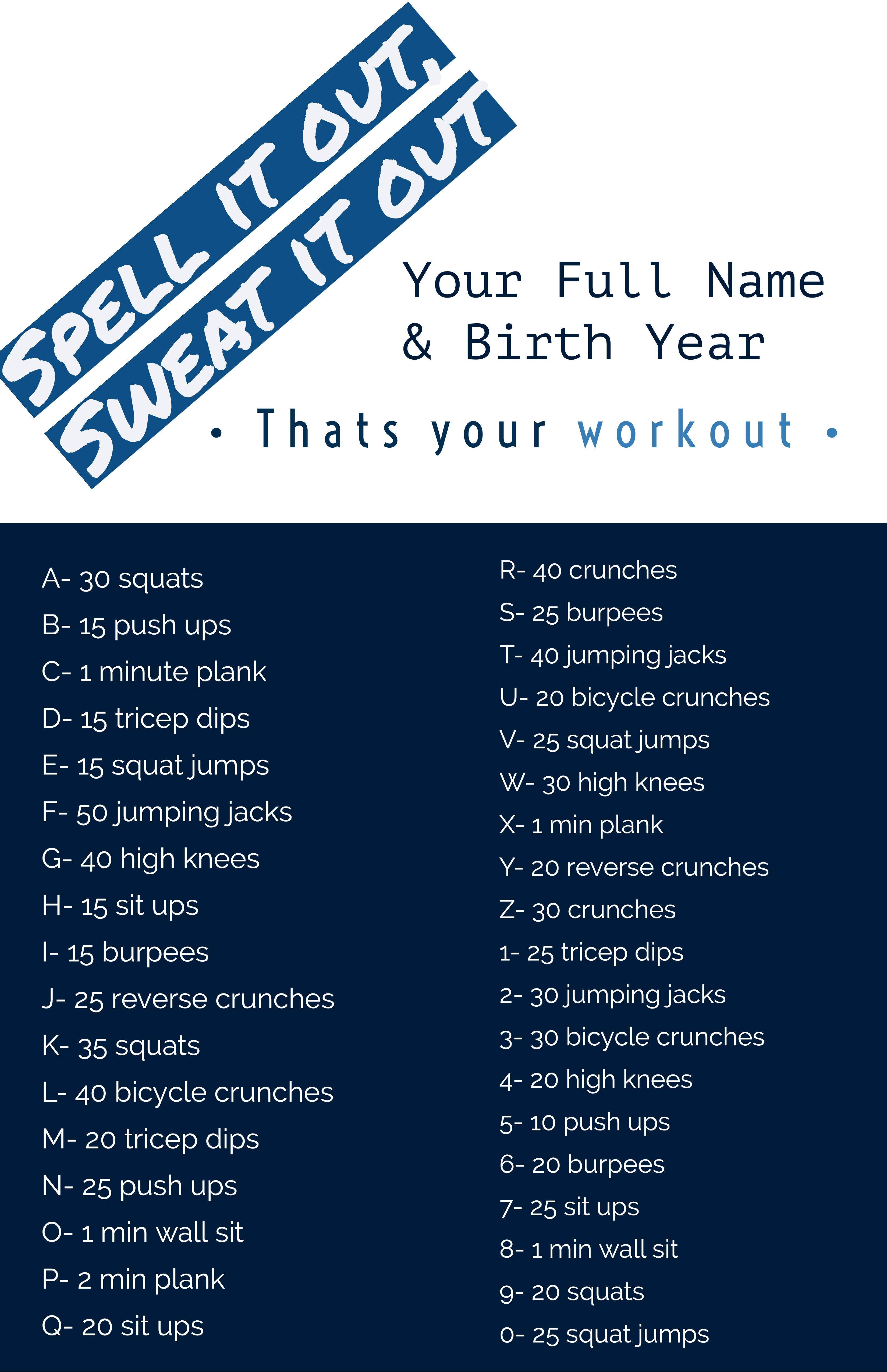 Spell It Out Workout At Home Workouts Crunches Workout Schedule