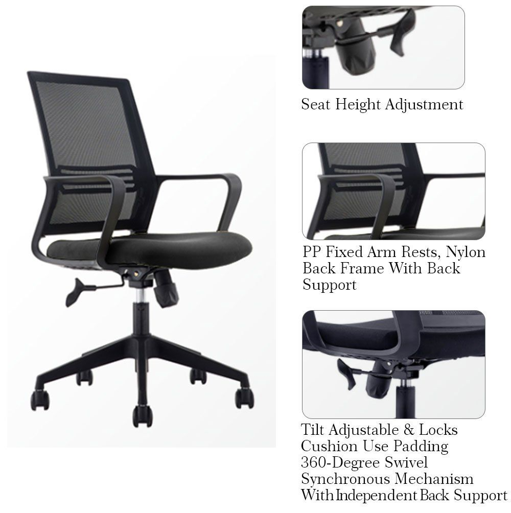 tgeg inc midback ergonomic mesh computer office desk task chair 360
