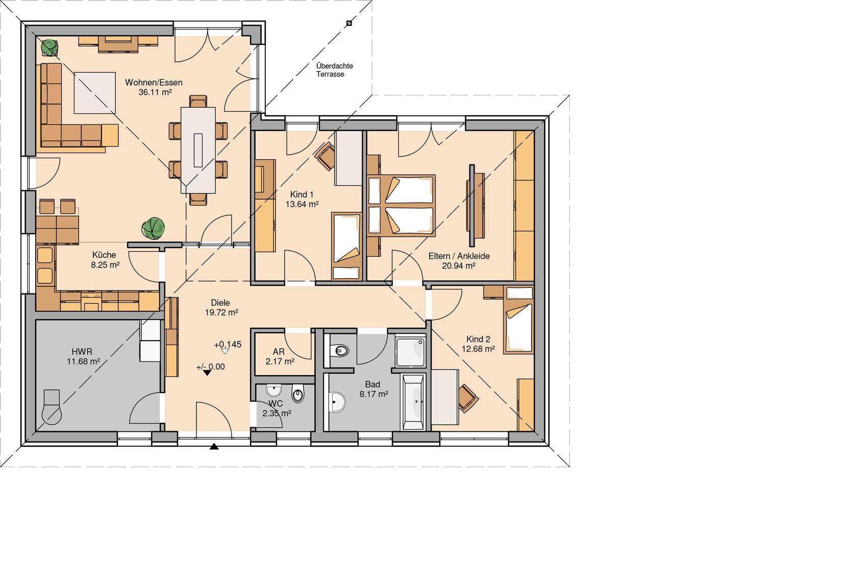 Kern-Haus Bungalow Balance Grundriss Erdgeschoss Klinker ...