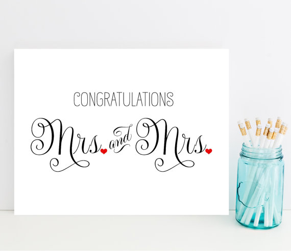 Printable Mrs And Mrs Wedding Card Lesbian Marriage Wedding Card