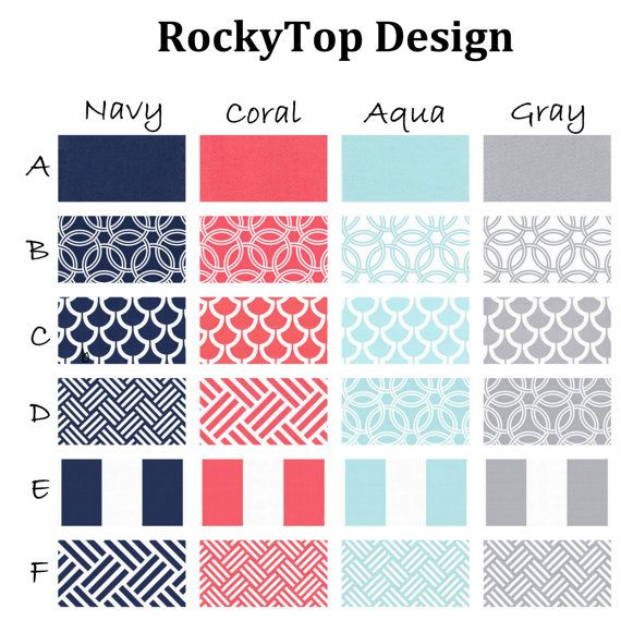 Coral, Aqua, Navy and Gray Custom Crib Bedding - Bekko | For My ...