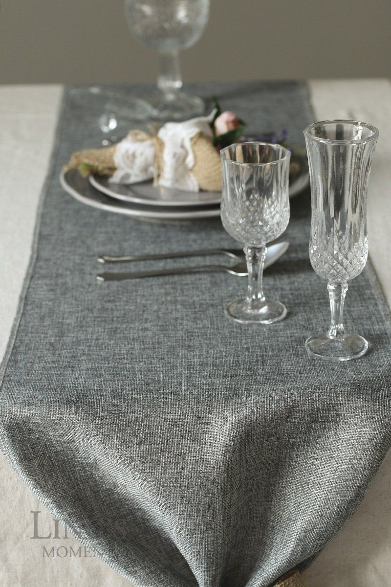 Lings Moment Gray Burlap Table Runner 14 X 132 Inch With Bow Ties For Farmhouse Table Runner Dresser Cover Runner Weddin Burlap Table Runners Linen Table Runner