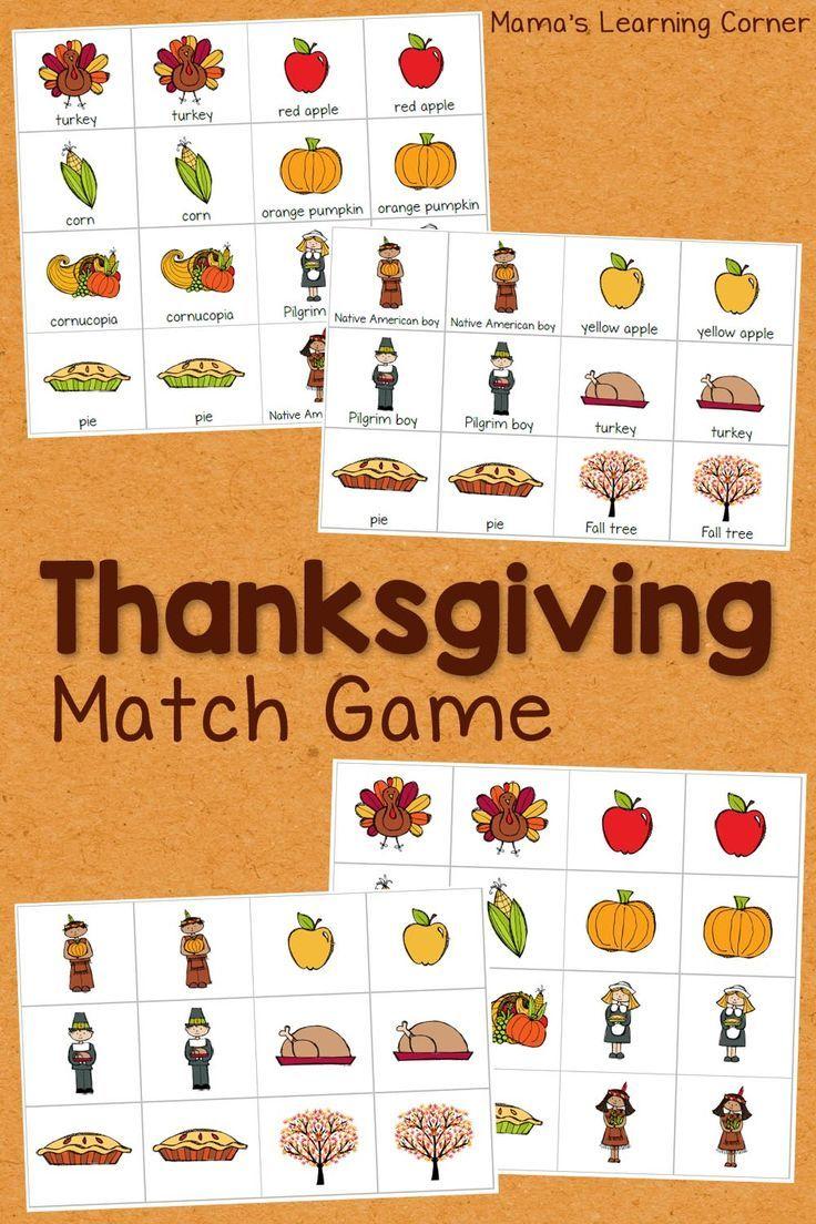 Thanksgiving Match Game Matching games, Thanksgiving