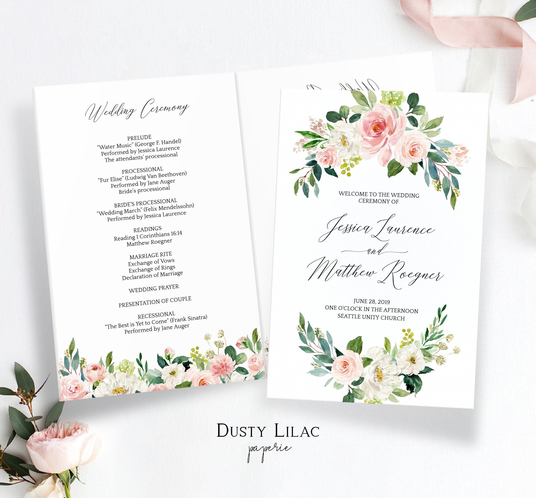 Pink Blush Floral Wedding Program Template Printable Wedding Ceremony Program Folded Booklet Editable Order Of Service Dlp16s1 Floral Wedding Programs Wedding Ceremony Booklet Wedding Programs Template