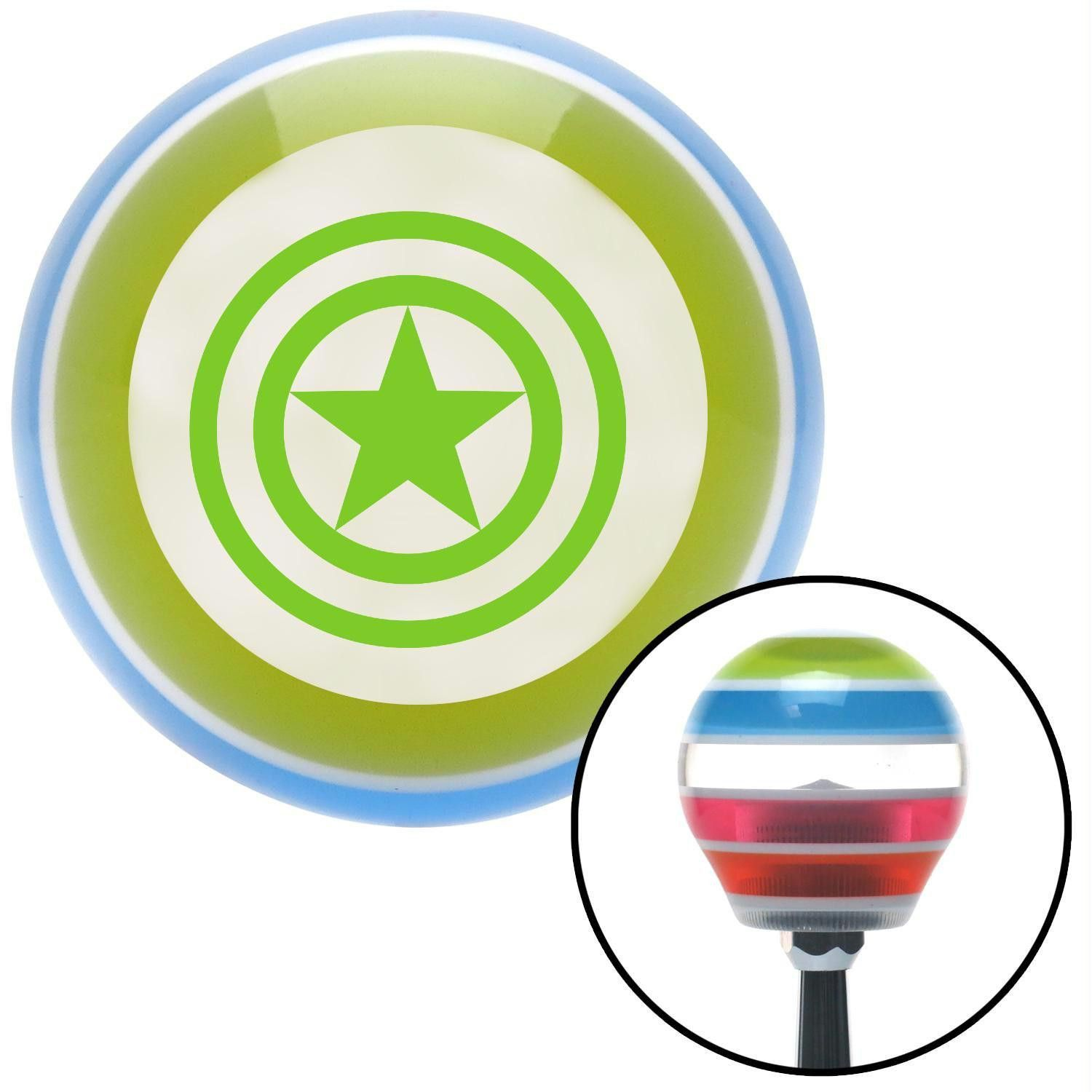 Green Outlined Star Stripe Shift Knob with M16 x 15 Insert