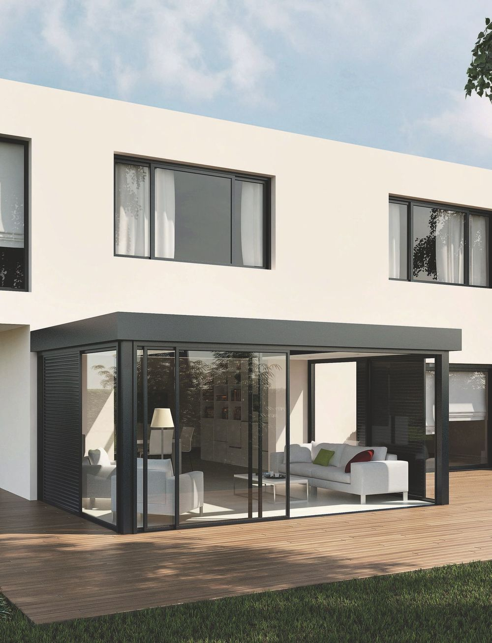 V randa laquelle choisir en bois aluminium idee for Portico moderno