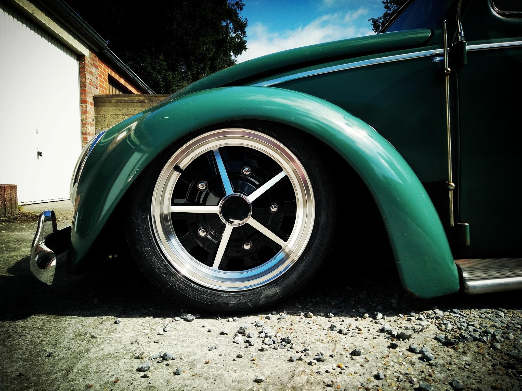 green  vw bug  sprintstar south africa replica  raw classics wheels aircooled