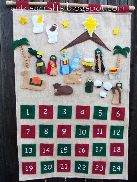 Felt Calendario Adviento Natividad - Añadir una pieza todos los días hasta la Navidad.  Patrón gratuito!