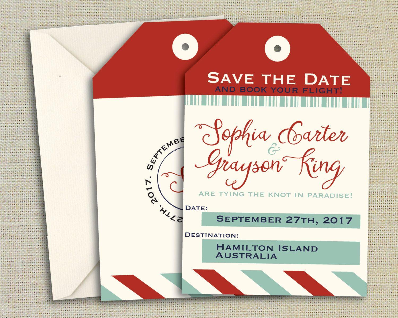 Luggage Tag Save The Date Destination Invitation Printed/Printable ...