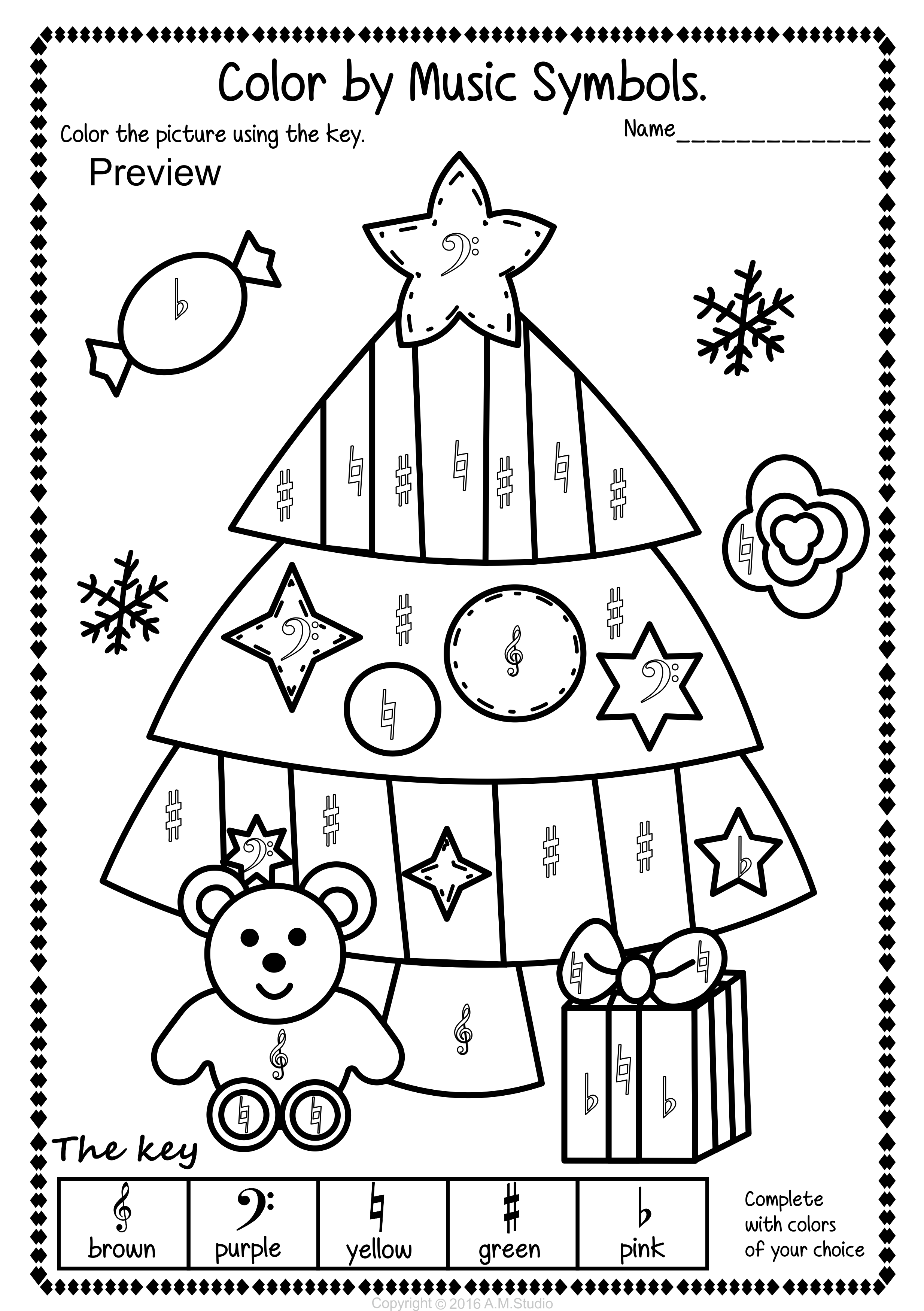 Christmas Color By Music Pages Christmas Music Coloring Music Activities For Kids Music Lessons For Kids