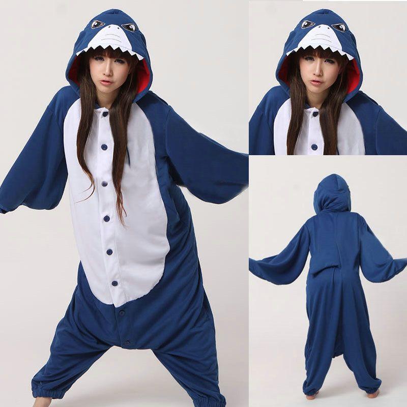 Animal Adult unisex Blue Shark Onesies Hoodie kigurumi Pajamas Pyjama e88dfbd6c9fd3