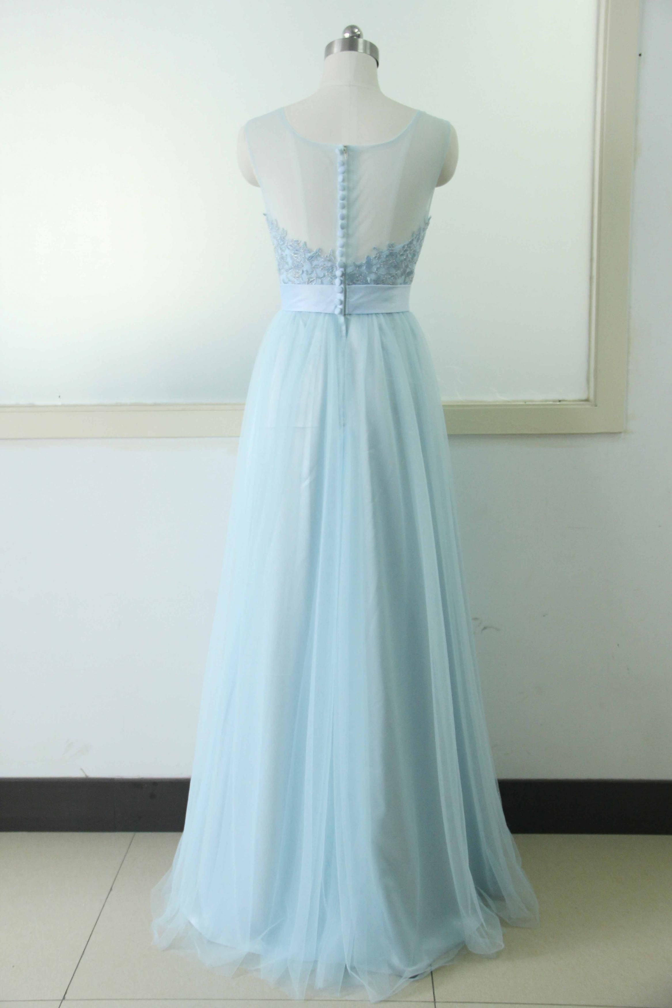 Sleeveless tulle party dress light blue lace bridesmaid prom dress