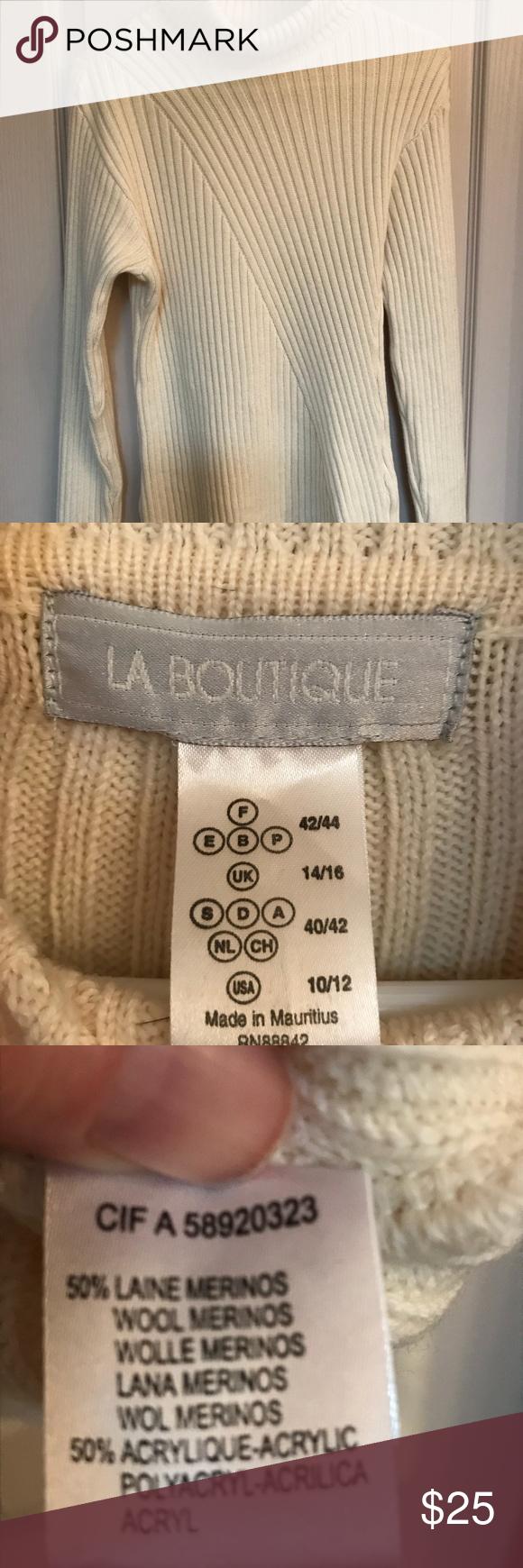 Cream Turtleneck Slimming Diagonal Weave Wool And Acrylic Turtleneck Sweater Like New La Boutique Sweaters Boutique Sweater Cream Turtleneck Wool Sweaters [ 1740 x 580 Pixel ]