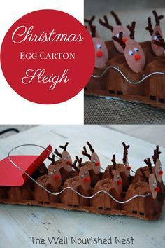 So clever! Make an egg carton reindeer sleigh. Great Christmas craft for kids.  #christmascraft #preschool