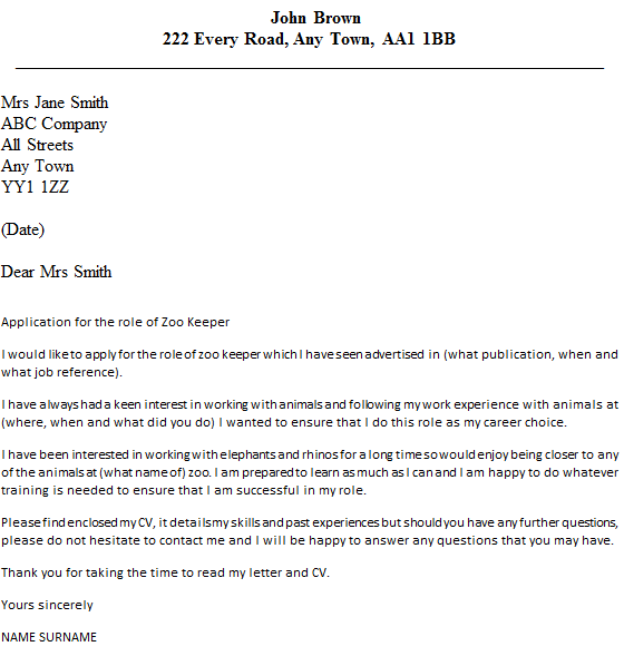 Cover Letter Example Zoo - Zoo Keeper Cover Letter