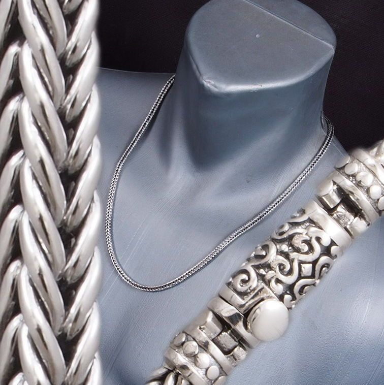 WOVEN SNAKE CHAIN ROPE MENS WOMENS NECKLACE 925 STERLING SILVER 18 20 22 24 26/""