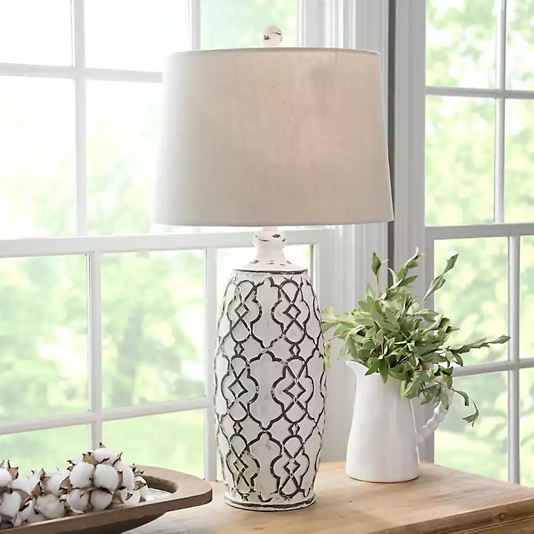 Distressed Cream Lilly Table Lamp From Kirkland S Table Lamps Living Room Lamps Living Room Farmhouse Table Lamps