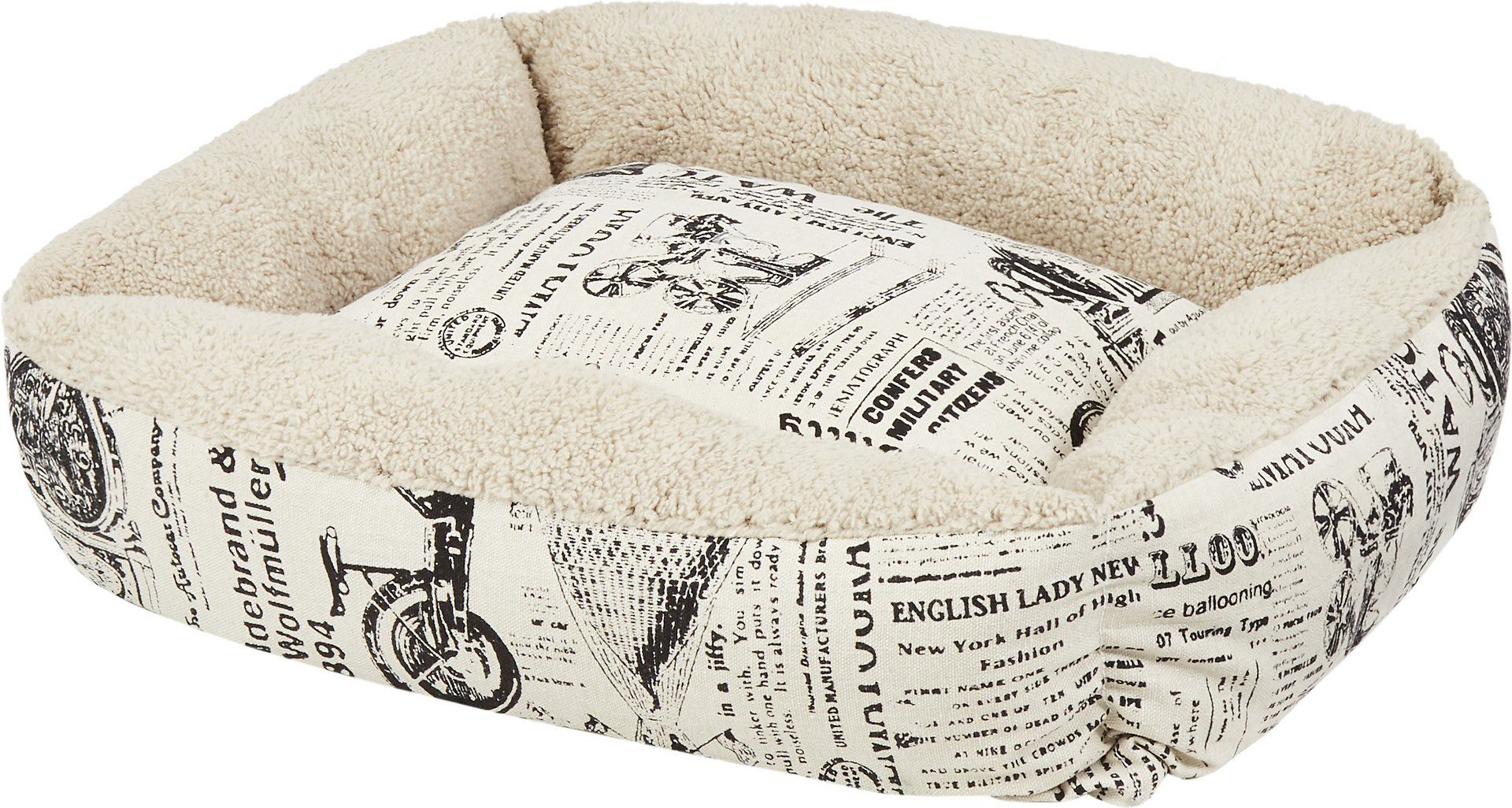 Paws pals 1800s newspaper short velvet pet bed large