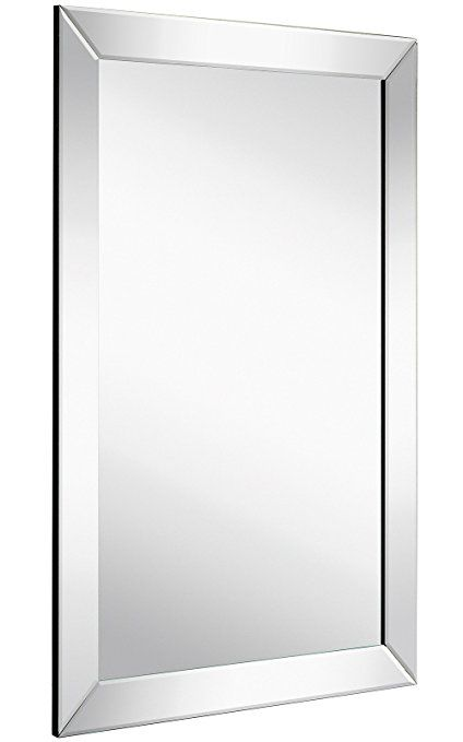 Large Flat Framed Wall Mirror With 2 Inch Edge Beveled Mirror Frame Premium Silver Backed Glass Panel Framed Mirror Wall Frames On Wall Beveled Edge Mirror