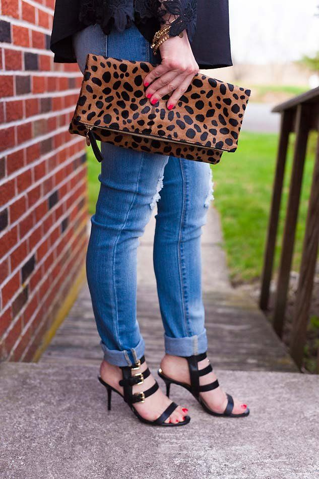 leopard clutch and black sandals // LipglossandLabels.com