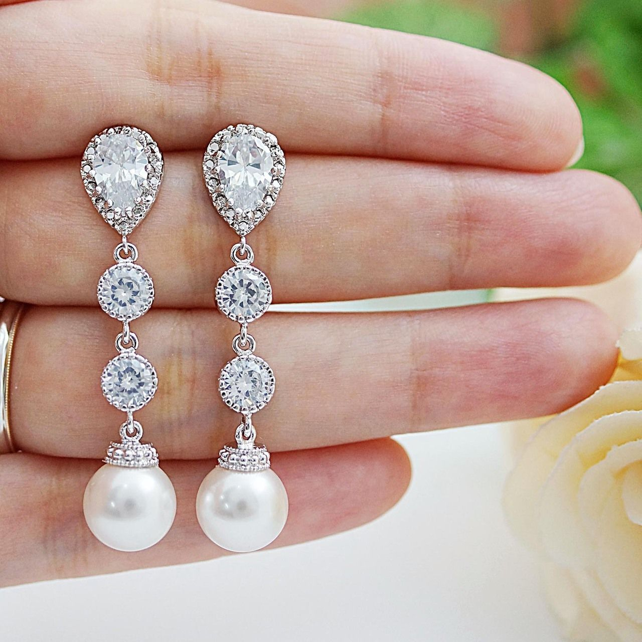 Swarovski Pearls and CZ connectors Bridal earrings