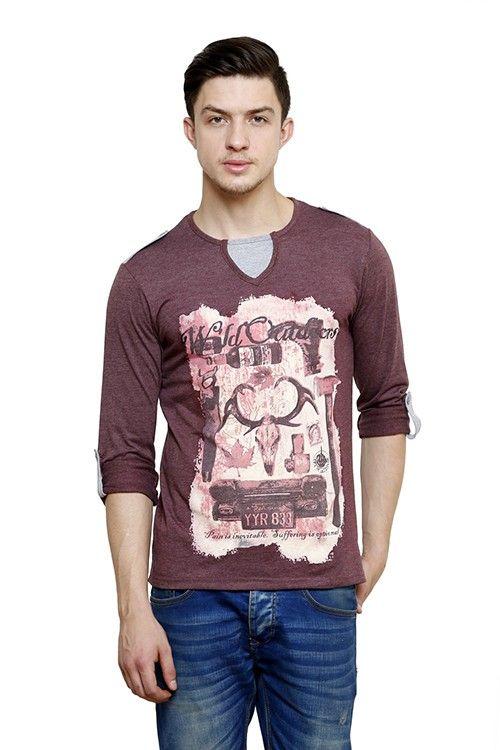 cf0439a4445 Mens Brown Henley s T-Shirt