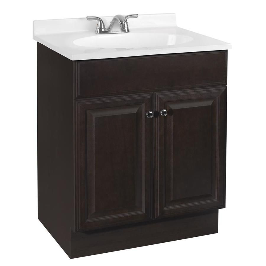 Project Source Richmond 24 In Single Sink Java Bathroom Vanity With Cultured Marble Top In 2020 Bathroom Vanity Bathroom Sink Vanity Vanity Combos