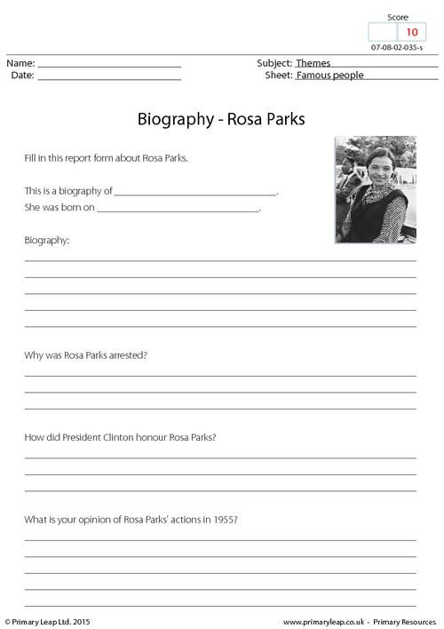 PrimaryLeapuk - Biography - Rosa Parks Worksheet Black - biography report template