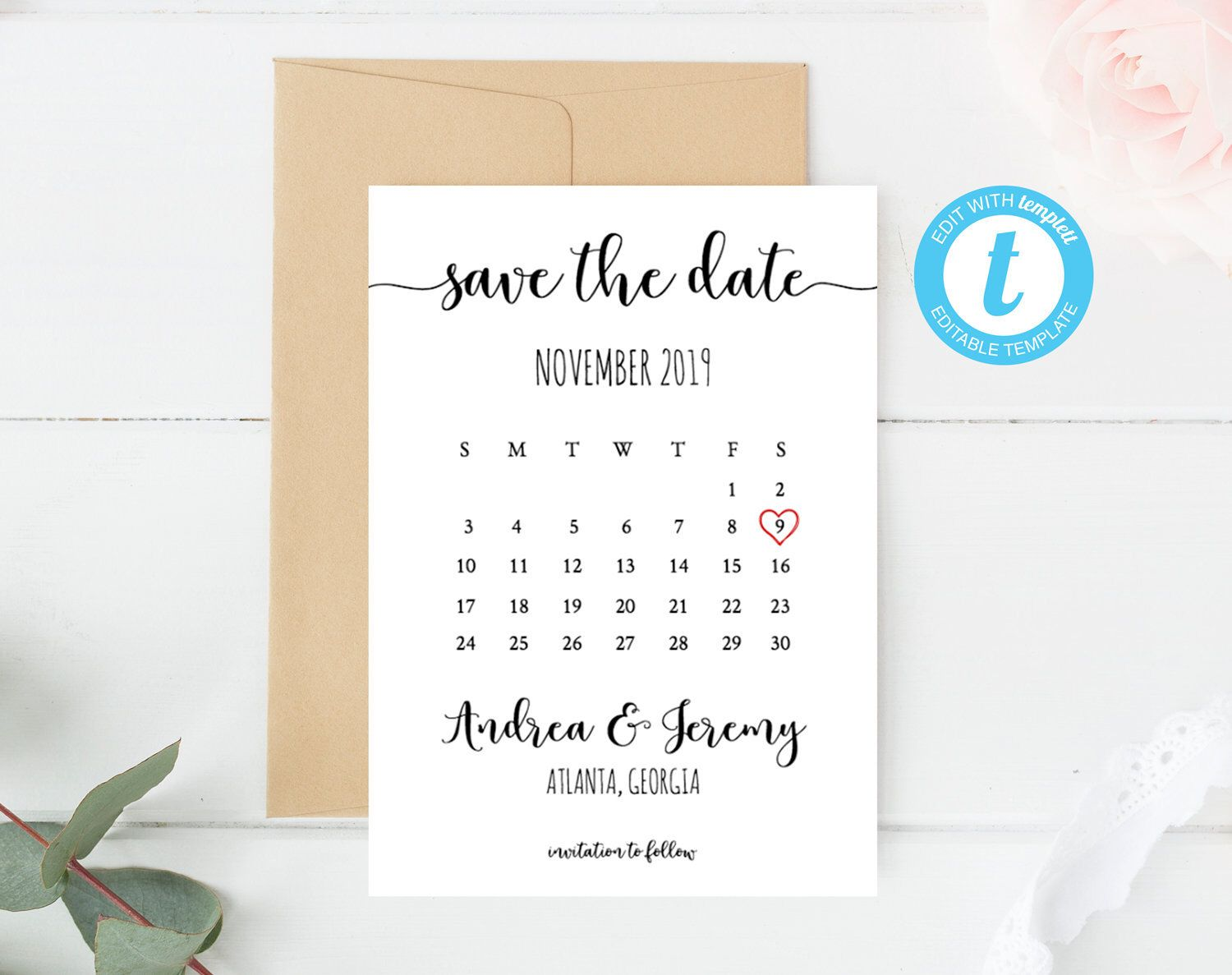 Excited To Share The Latest Addition To My Etsy Shop Editable Save The Date Calendar Template Save The Calendar Template Save The Date Wedding Memorial Sign