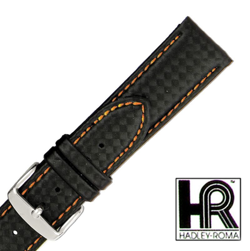 Hadley Roma 22mm Black Genuine Leather Orange Stitched Men Watch Band