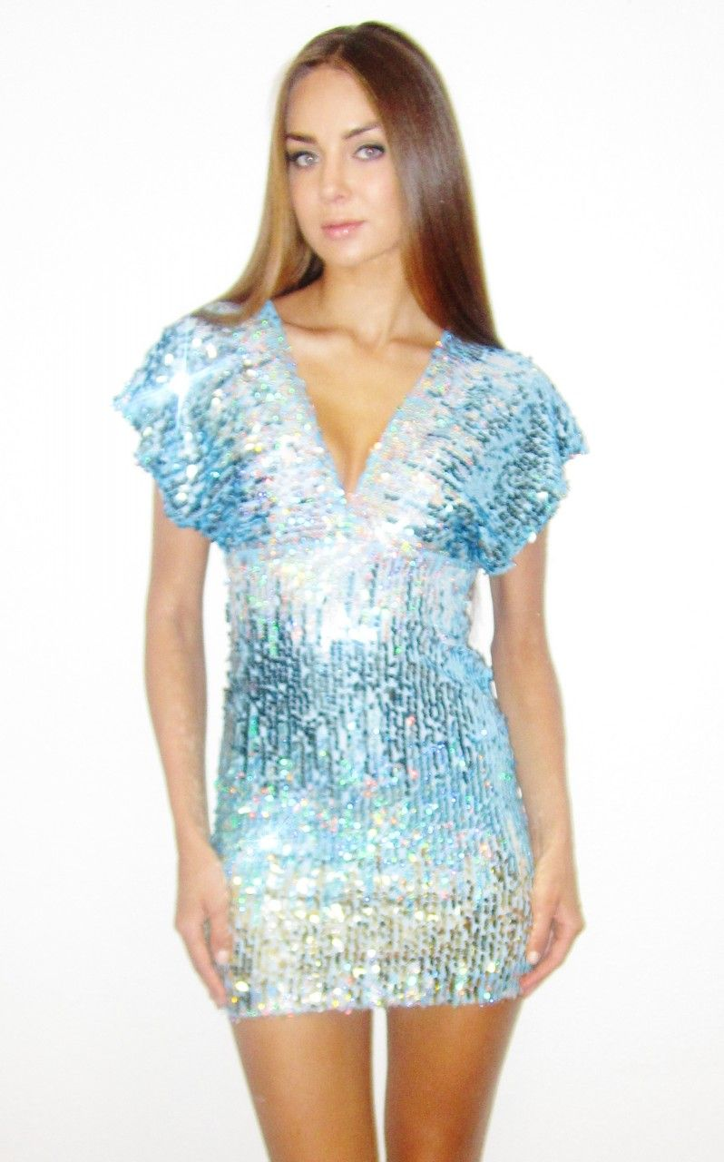 plus size moscato silver blue fading sequin two strap sequin dress