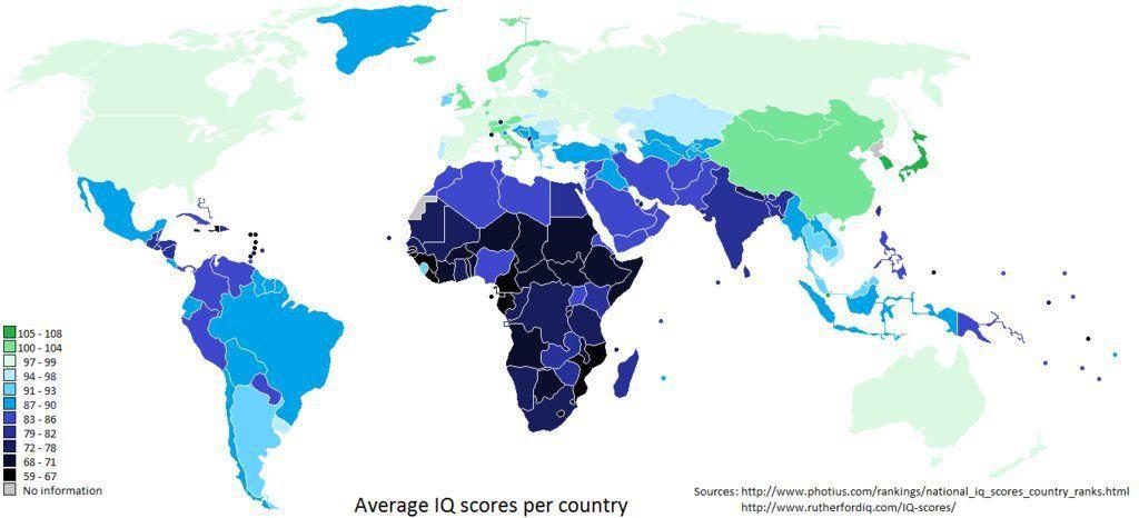 Iq per land in de wereld | vluchtelingenenhetgevaar: